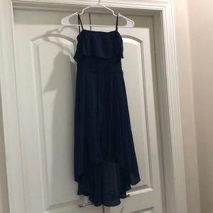 Navy Hi-Lo strapless dress